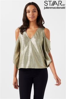 Star By Julien Macdonald Metallic Wrap Top