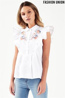 Fashion Union Frill Shirt With Embroidery