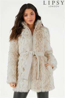 Lipsy Faux Fur Belted Coat