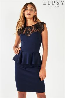 Lipsy Lace Yoke Detail Peplum Bodycon Dress