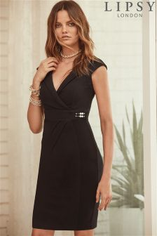 Lipsy Pearl Detail Wrap Dress