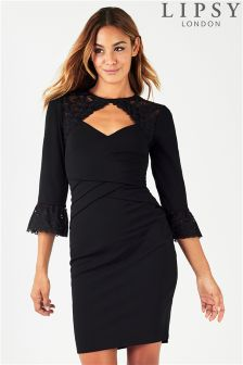 Lipsy Lace Shoulder Detail Bodycon Dress With Flute Sleeves