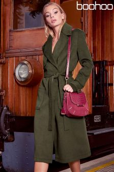 Boohoo Belted Wrap Trench Coat