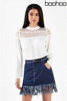 Boohoo Lace Panel High Neck Blouse