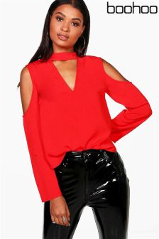 Boohoo Cold Shoulder Choker Blouse