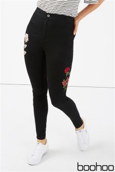 Boohoo Floral Embroidered Skinny Jeans