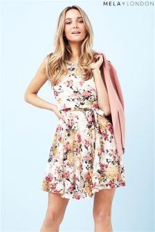 Mela Loves London Printed Floral Lace Skater Dress