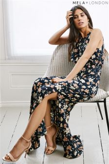Mela London High Neck Floral Maxi Dress