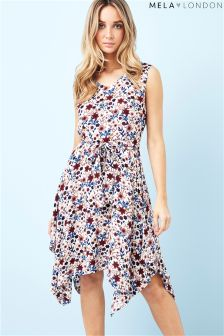Mela London Printed Floral High Low Dress