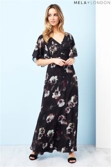 Mela London Printed Ruffle Sleeve Maxi Dress