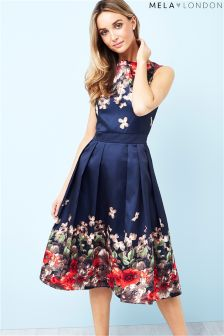 Mela London Pleated Border Print Prom Dress
