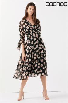 Boohoo Floral Print Wrap Midi Dress
