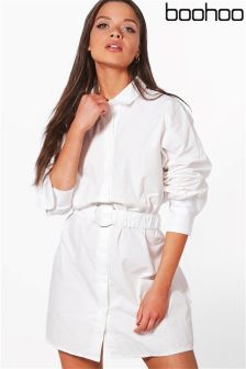 Boohoo O Ring Belted Shirt Dress