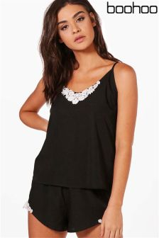 Boohoo Lace Trim Cami Short Set