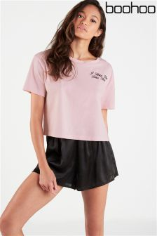 Boohoo I Woke Up Like This Embroidered Tee & Short Set