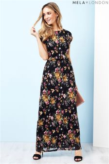 Mela London Printed Lace Maxi Dress
