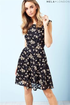 Mela London Polka Dot Rose Print Dress