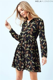 Mela London Leaf Print Shirt Dress