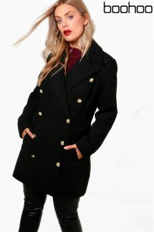 Boohoo Plus Military Button Wool Coat