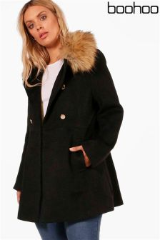 Boohoo Plus Faux Fur Collar Coat