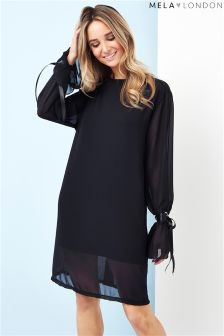 Mela London Fluted Tie Sleeve Shift Dress