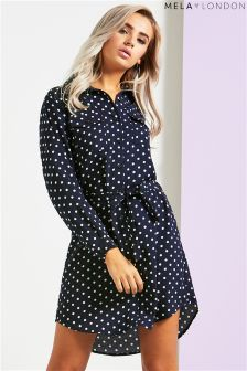 Mela London Polka Dot Shirt Dress