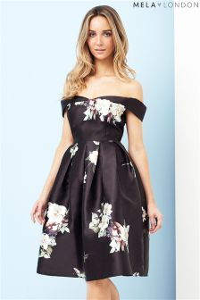 Mela London Off The Shoulder Floral Prom Dress