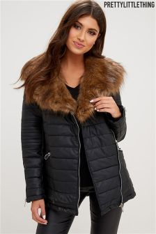 PrettyLittleThing Eliza Fur Collar Quilted Coat