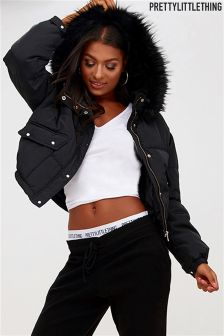 PrettyLittleThing Lara Faux Fur Hooded Bomber Jacket