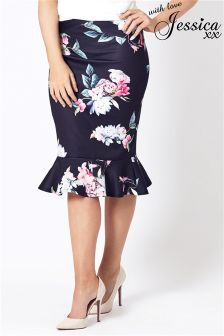 Jessica Wright Floral Print Pencil Midi Skirt With Frill Hem