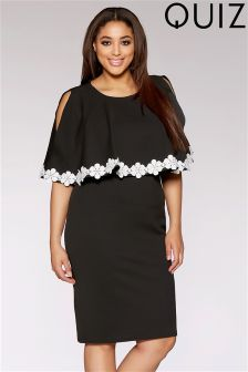 Quiz Curve Lace Trim Overlay Dress