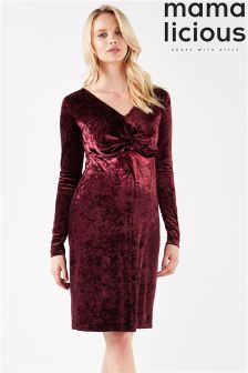 Mamalicious Maternity Long Sleeve Velvet Dress