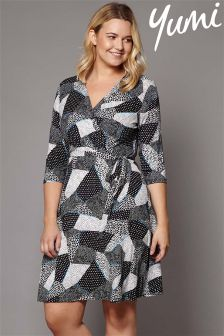 Yumi Curve Mono Pop Jersey Wrap Dress