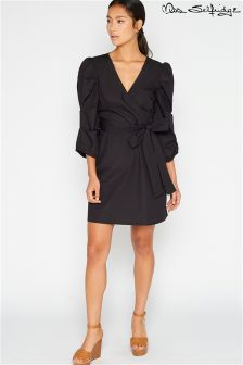 Miss Selfridge Tie Waist Poplin Sleeve Mini Dress