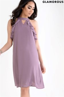 Glamorous Frill Detail Halterneck Dress