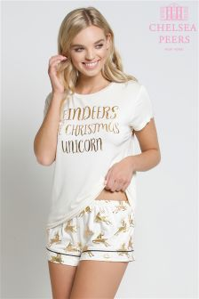 Chelsea Peers Christmas Unicorn Pyjama Short Set