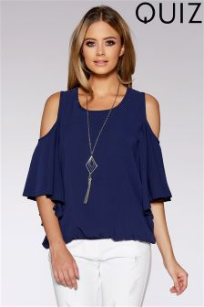 Quiz Cold Shoulder Necklace Top