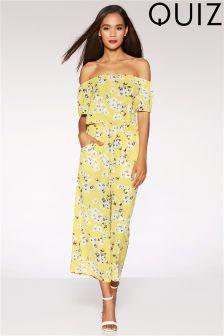 Quiz Bardot Floral Print Culotte Jumpsuit