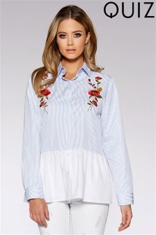 Quiz Embroidered Frill Top