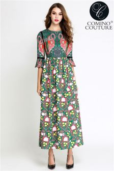 Comino Couture Flamingo Print Maxi Dress