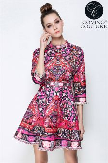 Comino Couture Embellished Folk Print Skater Dress