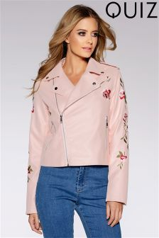 Quiz PU Embroidered Jacket