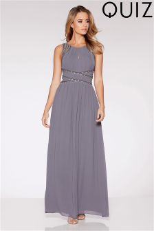 Quiz Chiffon Embellished Keyhole Maxi Dress
