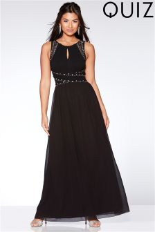 Quiz Embellished Keyhole Maxi Dress