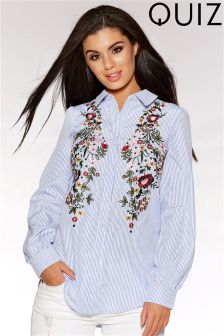 Quiz Embroidered Flower Shirt
