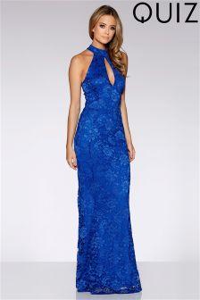 Quiz Lace Halterneck Fishtail Maxi Dress