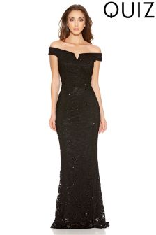Quiz Sequin Lace Bardot Fishtail Maxi Dress