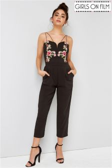 Girls On Film Detail Front Strappy Jumpsuit