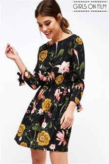 Girls On Film Floral Print Tie Sleeve Skater Dress
