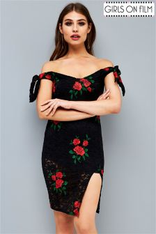Girls On Film Embroidered Lace Bardot Bodycon Dress